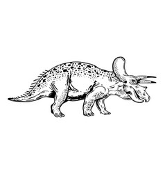 Triceratops engraving vector