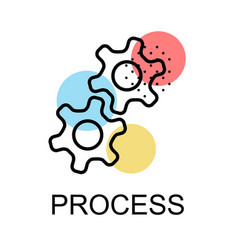 two gear icons for process on white background vector image