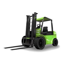 Warehouse forklift green vector