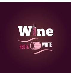 wine bottle red and white design background vector image vector image