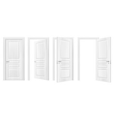 Wooden doors realistic icon set vector