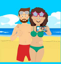 Young couple at the beach taking selfie picture vector