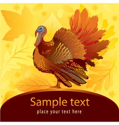 Decorative card with turkey vector image
