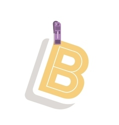 Clothespin holding relive letter b in shade vector