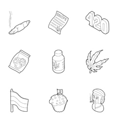Drug icons set outline style vector