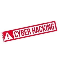 Cyber hacking rubber stamp vector