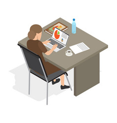 Businesswoman at laptop isolated vector