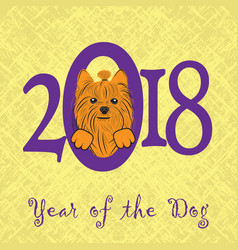 puppy animal york dog of chinese new year of the vector image