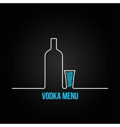 Vodka bottle glass deign menu background vector
