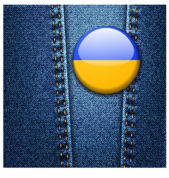 Ukraine flag badge on jeans denim texture vector