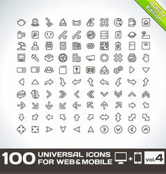 100 universal icons for web and mobile volume 4 vector