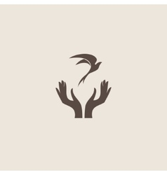 Bird with hand freedom sign vector image