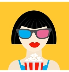 3D glasses and big popcorn Brunet girl at the vector image