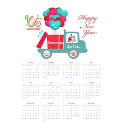 Calendar 2016 with bird carrying a gift on the car vector