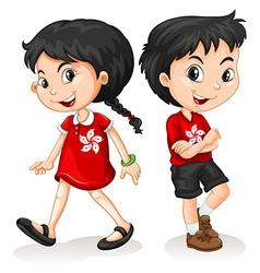Little boy and girl from hong kong vector