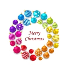 Set of colorful christmas glass balls round frame vector
