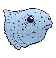 Comic cartoon fish head vector
