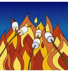 Marshmallow roasting on fire pop art style vector