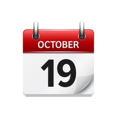 October 19 flat daily calendar icon date vector
