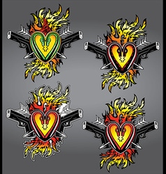 Punk heart shape tattoo fire flames glock pistols vector