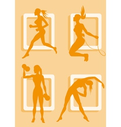 Silhouette of a lady working out vector