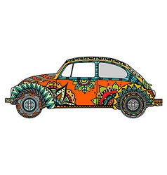 Vintage car in tangle patterns vector