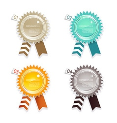 Four colored paper badges with place for your own vector