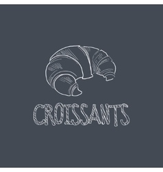 Croissant sketch style chalk on blackboard menu vector
