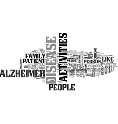 Activity for alzheimers patient text word cloud vector