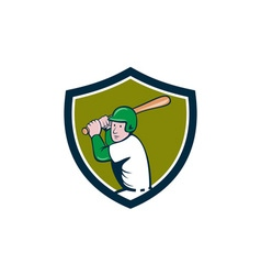 American baseball player batting crest cartoon vector