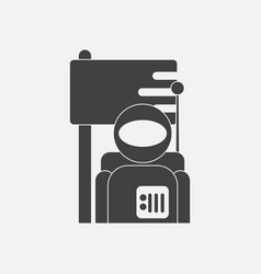 Black icon on white background astronaut and flag vector