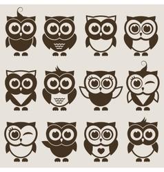 Brown Owl set vector image vector image