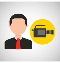 Businessman movie camcorder icons vector