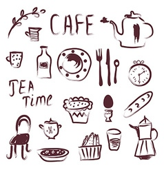 Cafe design elements set vector image vector image