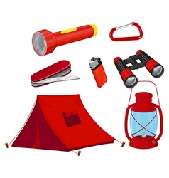 Camping equipments in red color vector