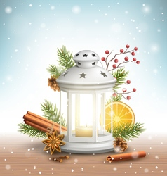 Christmas lantern with spices in snowfall on vector
