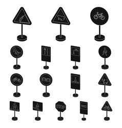 Different types of road signs black icons in set vector