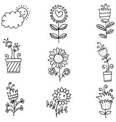 Doodle of spring set flower vector
