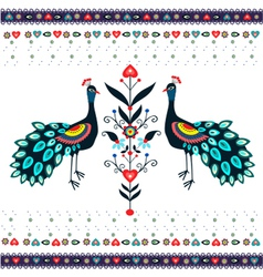Embroidery pattern with peacocks vector