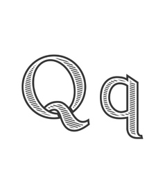 Font tattoo engraving letter q with shading vector
