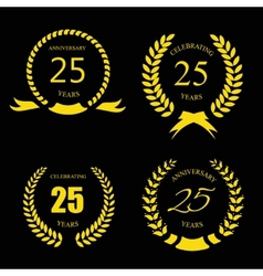 Golden laurel wreath 25 years set - jubilee vector image
