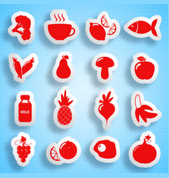 healthy food paper icons set vector image
