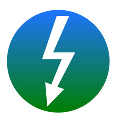 High voltage danger sign white icon in vector