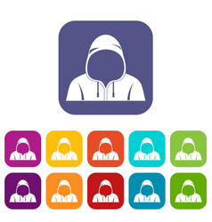 Hood icons set flat vector
