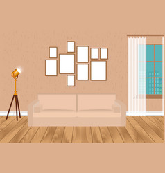 Mockup living room interior in hipster style with vector