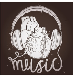 Music poster with anatomical heart and headphones vector