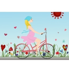 Pregnant girl rides a Bicycle on the field with vector image
