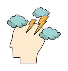 profile head brainstorm intelligence vector image vector image