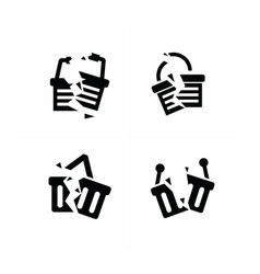 Shopping cart break icon set vector