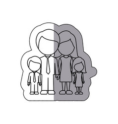 silhouette family with their children icon vector image